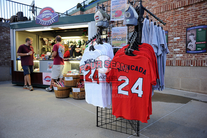T-shirts noting new second baseman Yoan Moncada of the Greenville Drive are for sale during a game against the Lexington Legends on Tuesday, May 19, 2015, at Fluor Field at the West End in Greenville, South Carolina. The Cuban-born 19-year-old Red Sox signee has been ranked the No. 1 international prospect in baseball by Baseball America. (Tom Priddy/Four Seam Images)