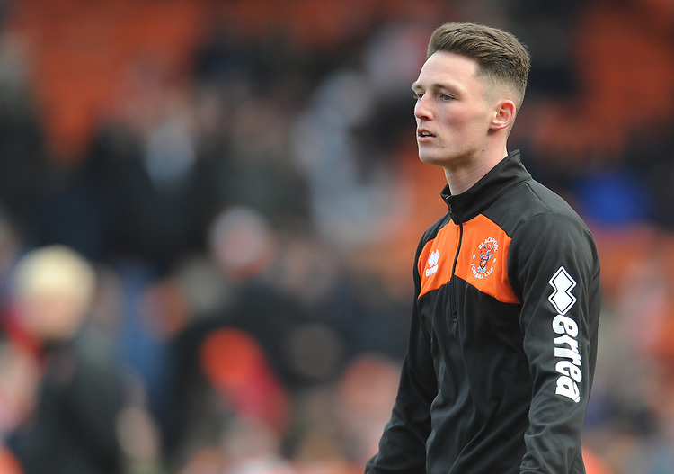 Blackpool's Jordan Thompson during the pre-match warm-up <br /> <br /> Photographer Kevin Barnes/CameraSport<br /> <br /> The EFL Sky Bet League One - Blackpool v Southend United - Saturday 9th March 2019 - Bloomfield Road - Blackpool<br /> <br /> World Copyright © 2019 CameraSport. All rights reserved. 43 Linden Ave. Countesthorpe. Leicester. England. LE8 5PG - Tel: +44 (0) 116 277 4147 - admin@camerasport.com - www.camerasport.com