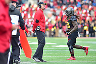 College Park, MD - NOV 26, 2016: Maryland Terrapins head coach DJ Durkin is all smiles as his Terps defeat Rutgers and are Bowl eligible at 6-6 after the game against Rutgers at Capital One Field at Maryland Stadium in College Park, MD. Maryland defeated Rutgers 31-13. (Photo by Phil Peters/Media Images International)