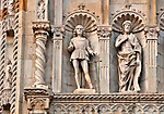 Detail of the facade of the Cathedral, Duomo in Como a town on Lake Como, Italy