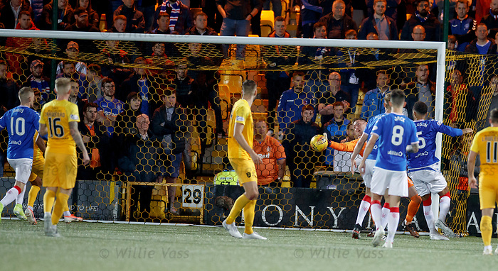 25.09.2018 Livingston v Rangers: Allan McGregor saves and Steven Davis clears off the line