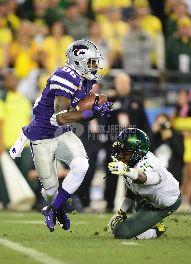Jan. 3, 2013; Glendale, AZ, USA: Kansas State Wildcats wide receiver Tramaine Thompson (86) against the Oregon Ducks during the 2013 Fiesta Bowl at University of Phoenix Stadium. Oregon defeated Kansas State 35-17. Mandatory Credit: Mark J. Rebilas-
