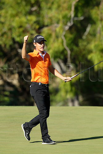 28.02.2016. Perth, Australia. ISPS HANDA Perth International Golf. Jason Scrivener reacts to scoring a Birdie at the 18th green during his last round.
