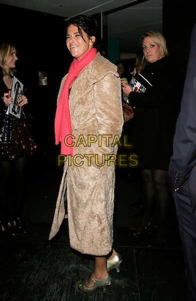 TRACEY EMIN  .Arriving to GQ Magazine 20th Anniversary Party, St. Alban restaurant, London, England, November 6th 2008..full length beige fur coat red scarf mary jane shoes Tracy .CAP/AH.©Adam Houghton/Capital Pictures