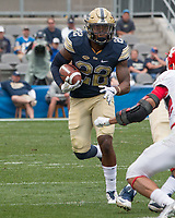 Pitt running back Darrin Hall. The Pitt Panthers defeated the Youngstown State Penguins 28-21 in overtime at Heinz Field, Pittsburgh, Pennsylvania on September 02, 2017.