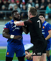 France's Dany Priso and NZ's Sam Cane square off during the Steinlager Series international rugby match between the New Zealand All Blacks and France at Westpac Stadium in Wellington, New Zealand on Saturday, 16 June 2018. Photo: Dave Lintott / lintottphoto.co.nz