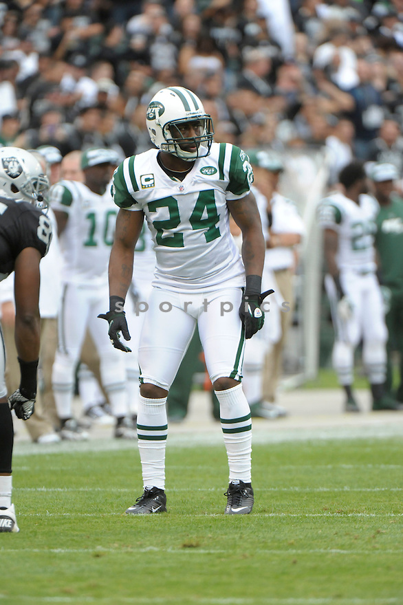 DARRELLE REVIS, of the New York Jets, in action during the Jets game against the Oakland Raiders on September 25, 2011at O.co Stadium in Oakland, CA. The Raiders beat the Jets 34-24.