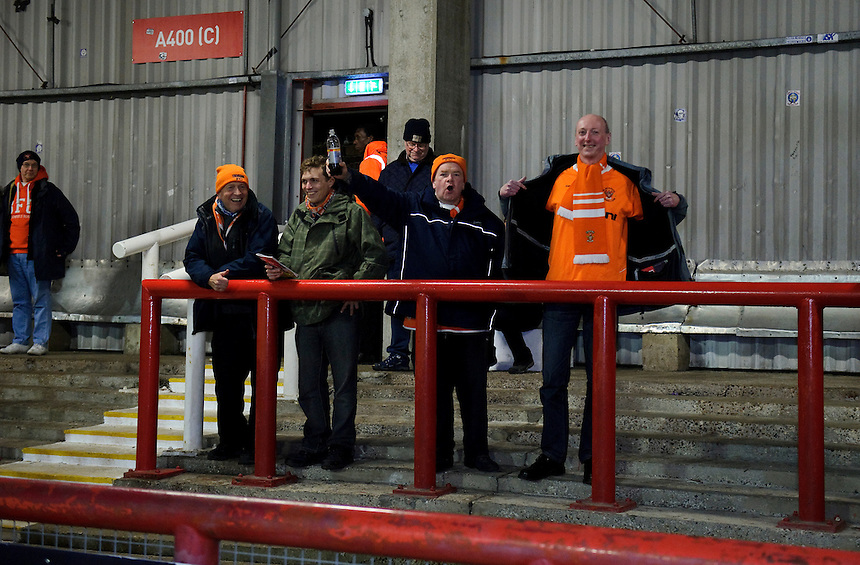 Blackpool fans arriving early at Griffin Park for the Brentford game<br /> <br /> Photographer Ashley Western/CameraSport<br /> <br /> Football - The Football League Sky Bet League One - Brentford v Blackpool - Tuesday 24th February 2015 - Griffin Park - London<br /> <br /> &copy; CameraSport - 43 Linden Ave. Countesthorpe. Leicester. England. LE8 5PG - Tel: +44 (0) 116 277 4147 - admin@camerasport.com - www.camerasport.com