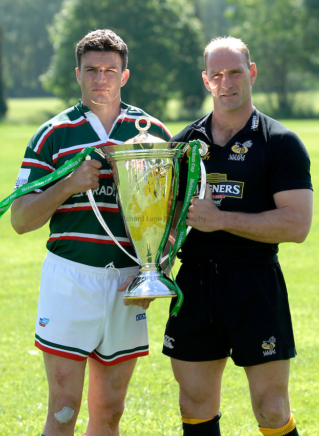 Photo: Richard Lane..Heineken Cup Final Captains Photocall. 18/05/2007. .Leicester Tigers' Martin Corry (lt) and Lawrence Dallaglio of London Wasps (rt) with the Heineken Cup ahead of the Final.