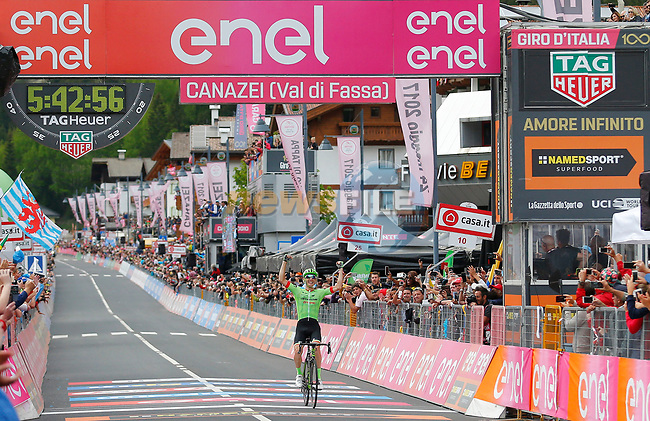 Pierre Rolland (FRA) Cannondale-Drapac wins solo Stage 17 of the 100th edition of the Giro d'Italia 2017, running 219km from Tirano to Canazei, Italy. 24th May 2017.<br /> Picture: LaPresse/Simone Spada | Cyclefile<br /> <br /> <br /> All photos usage must carry mandatory copyright credit (&copy; Cyclefile | LaPresse/Simone Spada)
