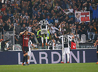 Juventus players celebrates after scorin during the  Coppa Italia ( Tim Cup) final soccer match,  Ac Milan  - Juventus Fc       at  the Stadio Olimpico in Rome  Italy , 09 May 2018