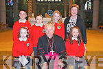 Derryquay N.S. Confirmations on Friday in St. Johns Church, Tralee, front l-r: Kate Mulgrew, Bishop Bill Murphy, Niamh Brosnan. Back row l-r: Rian OSullivan, Maire Daly, Amy Byrne and Anne Dennehy (teacher)..