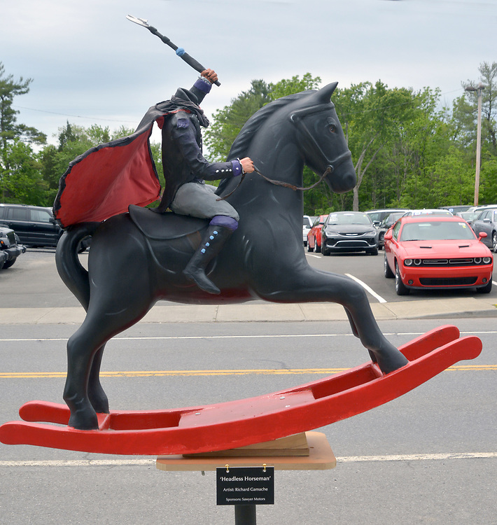 "A view of ""Headless Horseman"" created by artist, Richard Gamache, one of the ""Rockin' Around Saugerties"" theme Statues on display throughout the Village of Saugerties, NY, on Sunday, June 4, 2017. Photo by Jim Peppler. Copyright/Jim Peppler-2017."