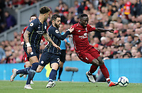 Liverpool's Naby Keita under pressure from Manchester City's Bernardo Silva and Kyle Walker<br /> <br /> Photographer Rich Linley/CameraSport<br /> <br /> The Premier League - Liverpool v Manchester City - Sunday 7th October 2018 - Anfield - Liverpool<br /> <br /> World Copyright &copy; 2018 CameraSport. All rights reserved. 43 Linden Ave. Countesthorpe. Leicester. England. LE8 5PG - Tel: +44 (0) 116 277 4147 - admin@camerasport.com - www.camerasport.com