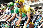 Green Jersey Peter Sagan (SVK) Bora-Hansgrohe and new race leader Yellow Jersey Julian Alaphilippe (FRA) Deceuninck-Quick Step start Stage 4 of the 2019 Tour de France running 213.5km from Reims to Nancy, France. 9th July 2019.<br /> Picture: Colin Flockton | Cyclefile<br /> All photos usage must carry mandatory copyright credit (© Cyclefile | Colin Flockton)