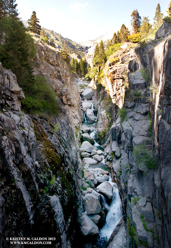 Luckily there is a bridge crossing the gorge of Lone Pine Creek.  High Sierra Trail in Sequoia National Park
