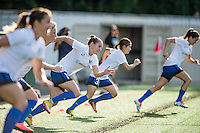 Seattle, Washington - Saturday, July 2nd, 2016: Seattle Reign FC forward Manon Melis (14) prepares for a regular season National Women's Soccer League (NWSL) match between the Seattle Reign FC and the Boston Breakers at Memorial Stadium. Seattle won 2-0.