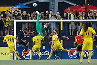 29 MAY 2010:  Galaxy's #1 Donovan Ricketts pushes the ball over the net during MLS soccer game between LA Galaxy vs Columbus Crew at Crew Stadium in Columbus, Ohio on May 29, 2010. Galaxy defeated the Crew 2-0.