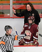 Courtney Kennedy (BC - Assistant Coach), Elizabeth Olchowski (BC - 13) - The Harvard University Crimson defeated the Boston College Eagles 5-0 in their Beanpot semi-final game on Tuesday, February 2, 2010 at the Bright Hockey Center in Cambridge, Massachusetts.