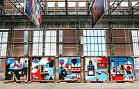 Nederland Amsterdam  2017. De NDSM-Werf. In de gebouwen van de voormalige scheepswerf zijn ateliers gevestigd. Kunstwerk vormt het woord Noord.  Foto Berlinda van Dam / Hollandse Hoogte