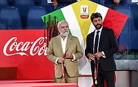 Napoli's president Aurelio De Laurentiis, left, and Juventus' president Andrea Agnelli attend the award ceremony at the end of their Italian Cup football final match at Rome's Olympic stadium, June 17, 2020. Napoli won 4-2 at the end of a penalty shootout following a scoreless draw.<br /> UPDATE IMAGES PRESS/Isabella Bonotto