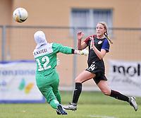 Monfalcone, Italy, April 26, 2016.<br /> USA's #14 Wingate kicks the ball USA v Iran football match at Gradisca Tournament of Nations (women's tournament). Monfalcone's stadium.<br /> &copy; ph Simone Ferraro / Isiphotos