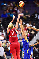 Washington, DC - August 12, 2018: Washington Mystics All-Star guard Elena Delle Donne (11) shoots a jump shot over Dallas Wings guard Allisha Gray (15) during game between the Washington Mystics and the Dallas Wings at the Capital One Arena in Washington, DC. (Photo by Phil Peters/Media Images International)