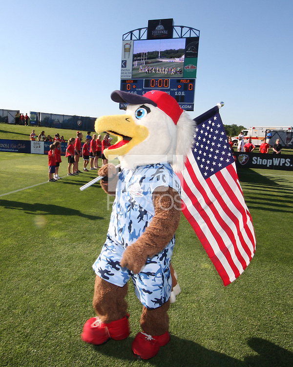 Mascot Glory of the Washington Freedom,  in a special camouflage uniform during a WPS match against the Philadelphia Independence on military appreciation night at the Maryland Soccerplex in Boyds, Maryland on May 30 2010. Freedom won 2-1.