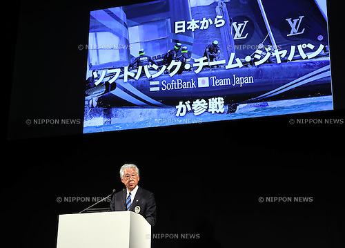 June 2, 2016, Tokyo, Japan - Hirobumi Kawano, Japan Sailing Federation president speaks at a press conference in Tokyo on Thursday, June 2, 2016. Former New Zealand skipper and America's Cup Event Authority CEO Russell Coutts announced Japan's Fukuoka city would host Asia's first America's Cup World Series, qualifier for the America's Cup yacht race in November.      (Photo by Yoshio Tsunoda/AFLO) LWX -ytd-