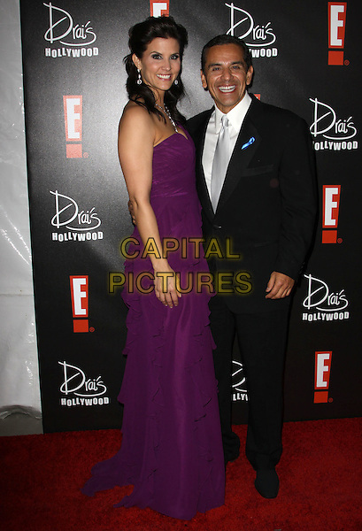 LU PARKER & ANTONIO VILLARAIGOSA, Mayor of Los Angeles.E! Oscar Viewing And After Party held At Drai's at The W Hotel, Hollywood, California, USA..March 7th, 2010.full length purple strapless maxi dress black suit.CAP/ADM/KB.©Kevan Brooks/AdMedia/Capital Pictures.