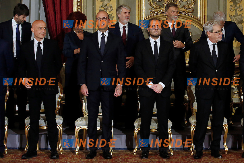 Marco Minniti, Angelino Alfano, Luca Lotti, e Claudio De Vincenti<br /> Roma 12-12-2016. Quirinale Cerimonia del giuramento die Ministri<br /> Rome December 12th 2016. Swearing ceremony of the new Government<br /> Foto Samantha Zucchi Insidefoto