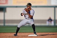 Bradenton Marauders second baseman Trae Arbet (26) waits to receive a throw during the first game of a doubleheader against the Lakeland Flying Tigers on April 11, 2018 at Publix Field at Joker Marchant Stadium in Lakeland, Florida.  Lakeland defeated Bradenton 5-4.  (Mike Janes/Four Seam Images)