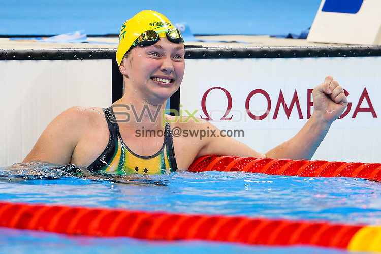 Picture by Rogan Thomson/SWpix.com - 16/09/2016 - 2016 Rio Paralympic Games - Swimming - Olympic Aquatics Centre, Rio de Janeiro, Brazil -Maddison Elliott of Australia wins Gold in the Women's 50m Freestyle S8 Final with a new World Record time.