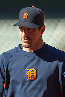 Detroit Tigers pitcher Justin Verlander before the MLB baseball game against the Houston Astros on May 3, 2013 at Minute Maid Park in Houston, Texas. Detroit defeated Houston 4-3. (Andrew Woolley/Four Seam Images).