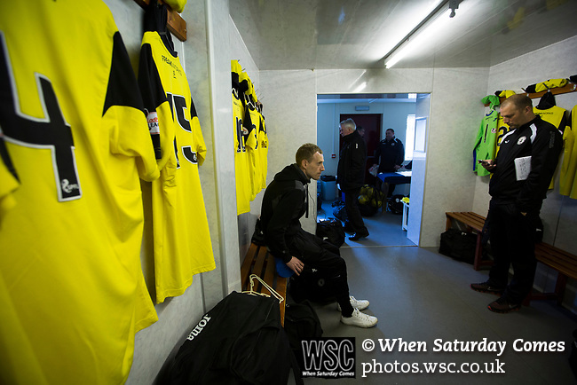 Arbroath 0 Edinburgh City 1, 15/03/2017. Gayfield Park, SPFL League 2. Away midfielder Marc Laird relaxes in the dressing room at Gayfield Park before Arbroath hosted Edinburgh City in an SPFL League 2 fixture. The newly-promoted side from the Capital were looking to secure their place in SPFL League 2 after promotion from the Lowland League the previous season. They won the match 1-0 with an injury time goal watched by 775 spectators to keep them 4 points clear of bottom spot with three further games to play. Photo by Colin McPherson.