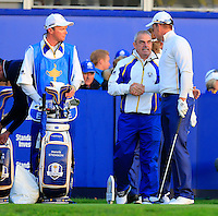 Captain Paul McGinley greets Henrik Stenson (EUR) on the 1st tee before Saturday Mornings Fourball Matches of the Ryder Cup 2014 played on the PGA Centenary Course at the Gleneagles Hotel, Auchterarder, Scotland.: Picture Eoin Clarke, www.golffile.ie: 27th September 2014