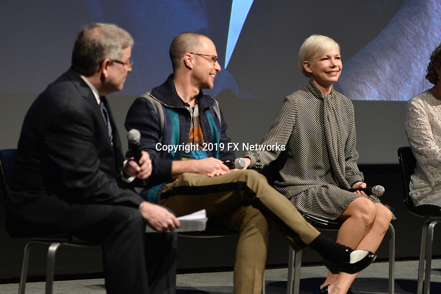 """NEW YORK - APRIL 7: Sam Rockwell (second from right) and Michelle Williams (r) attend the Q&A after the screening of FX's """"Fosse Verdon"""" presented by FX Networks, Fox 21 Television Studios, and FX Productions at the Museum of Modern Art on April 7, 2019 in New York City. (Photo by Anthony Behar/FX/PictureGroup)"""