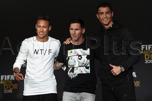 11.01.2016. Zurich, Switzerland. The FIFA Ballon D'Or Awards, preview press conferences. Lionel Messi FC Barcelona, Neymar Jnr and Cristiano Ronaldo Real Madrid