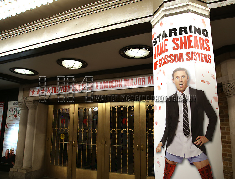 """Theatre Marquee for Wayne Brady's return to """"Kinky Boots"""" on Broadway also starring Jake Shears of the Scissor Sisters and Kristin Maldonado of Pentatonix on March 5, 2018 at the Hirschfeld Theatre in New York City."""