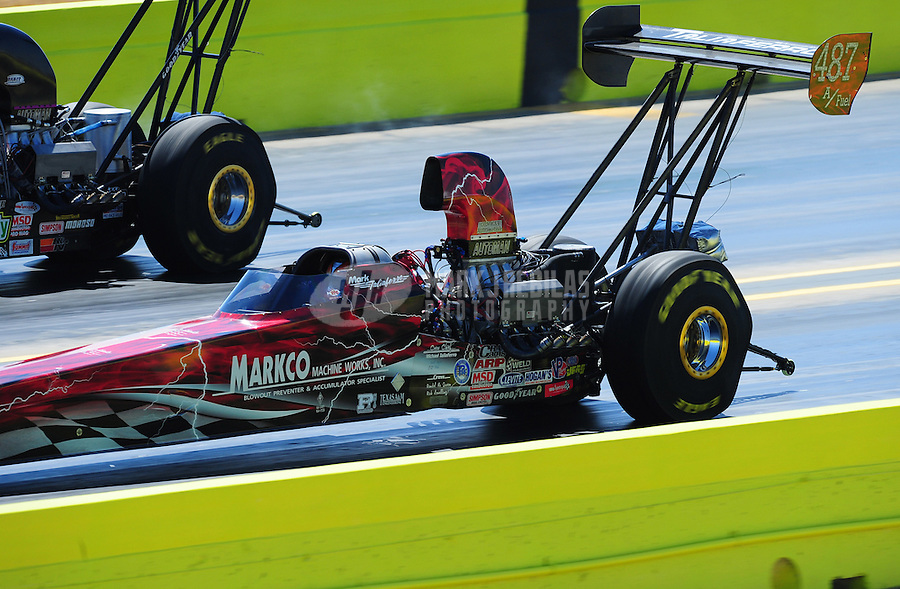 Sept. 24, 2011; Ennis, TX, USA: NHRA top alcohol dragster driver Mark Taliaferro during qualifying for the Fall Nationals at the Texas Motorplex. Mandatory Credit: Mark J. Rebilas-