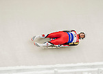 4 December 2015: Armin Frauscher, sliding for Austria, enters a curve during his first run of the Viessmann Luge World Cup at the Olympic Sports Track in Lake Placid, New York, USA. Mandatory Credit: Ed Wolfstein Photo *** RAW (NEF) Image File Available ***