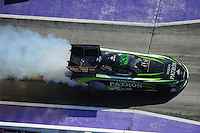 Apr. 28, 2012; Baytown, TX, USA: Aerial view of NHRA funny car driver Alexis DeJoria during qualifying for the Spring Nationals at Royal Purple Raceway. Mandatory Credit: Mark J. Rebilas-