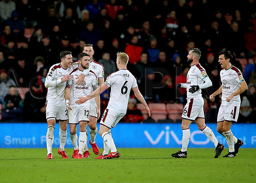 29th November 2017, Vitality Stadium, Bournemouth, England; EPL Premier League football, Bournemouth versus Burnley; Robbie Brady of Burnley celebrates scoring his sides second goal with Stephen Ward and Ben Mee, 0-2 Burnley