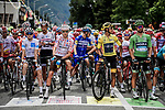 The jersey holders lined up for the start of Stage 20 of the 2019 Tour de France running 59.5km from Albertville to Val Thorens, France. 27th July 2019.<br /> Picture: ASO/Pauline Ballet | Cyclefile<br /> All photos usage must carry mandatory copyright credit (© Cyclefile | ASO/Pauline Ballet)