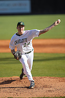 Charlotte 49ers starting pitcher Sean Geoghegan (24) delivers a pitch to the plate against the Florida Atlantic Owls at Hayes Stadium on March 14, 2015 in Charlotte, North Carolina.  The Owls defeated the 49ers 8-3 in game one of a double header.  (Brian Westerholt/Four Seam Images)
