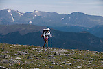 backpacker, Flattop Mountain, Rocky Mountain National Park, Colorado, USA