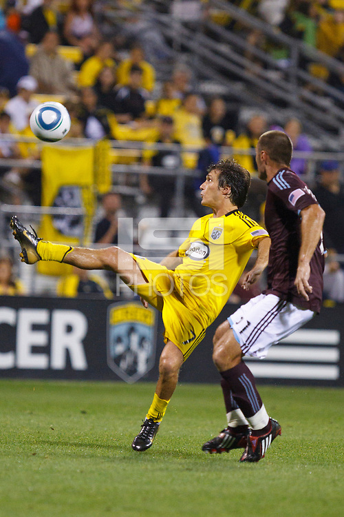 21 AUGUST 2010:  Guillermo Barros Schelotto of the Columbus Crew (7) during MLS soccer game between Colorado Rapids vs Columbus Crew at Crew Stadium in Columbus, Ohio on August 21, 2010.