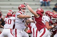 Hawgs Illustrated/BEN GOFF <br /> Noah Gatlin (left), Arkansas offensive lineman, graples with defensive lineman Grifin Hunt in the fourth quarter Saturday, April 6, 2019, during the Arkansas Red-White game at Reynolds Razorback Stadium.