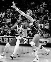 Baltimore Bulletts Tom McMillen guarding Warriors Jerome Whitehead..(1985 photo/Ron Riesterer)