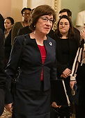 United States Senator Susan Collins (Republican of Maine) walks to the US Senate Chamber to cast two votes on legislation to reopen the government in the US Capitol in Washington, DC on Thursday, January 24, 2019.  Both proposals were voted upon and both failed to get enough votes to pass.<br /> Credit: Ron Sachs / CNP